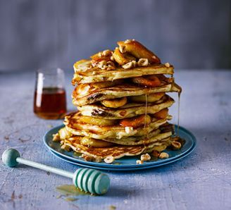 Chocolate-Filled Pancakes with Caramelised Bananas (BBC Good Food)