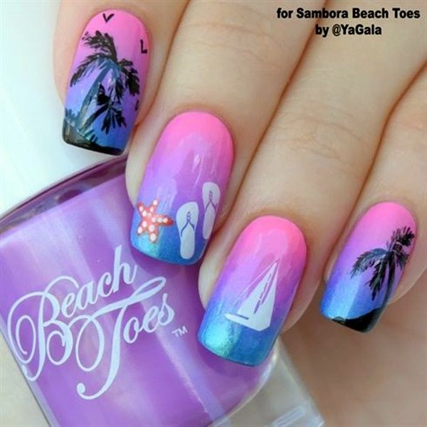 Beautiful gradient inspired Palm Tree Nail Art design. The gradient consists of a blue and pink color that combines to create a wonderful violet hue in the middle. Apart from the palm trees, simple things like a starfish and flip flops are also added to create the summer atmosphere.
