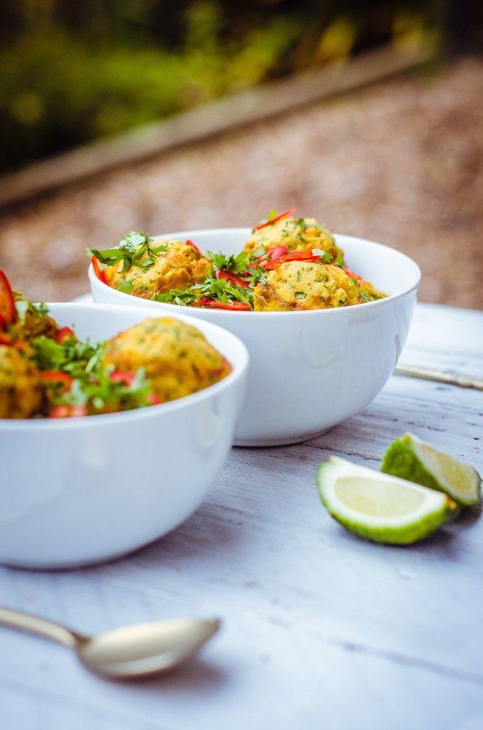 Curried Lentil Soup with Carrot + Coriander Dumplings (Gluten Free + Vegan) - GoodnessGreen