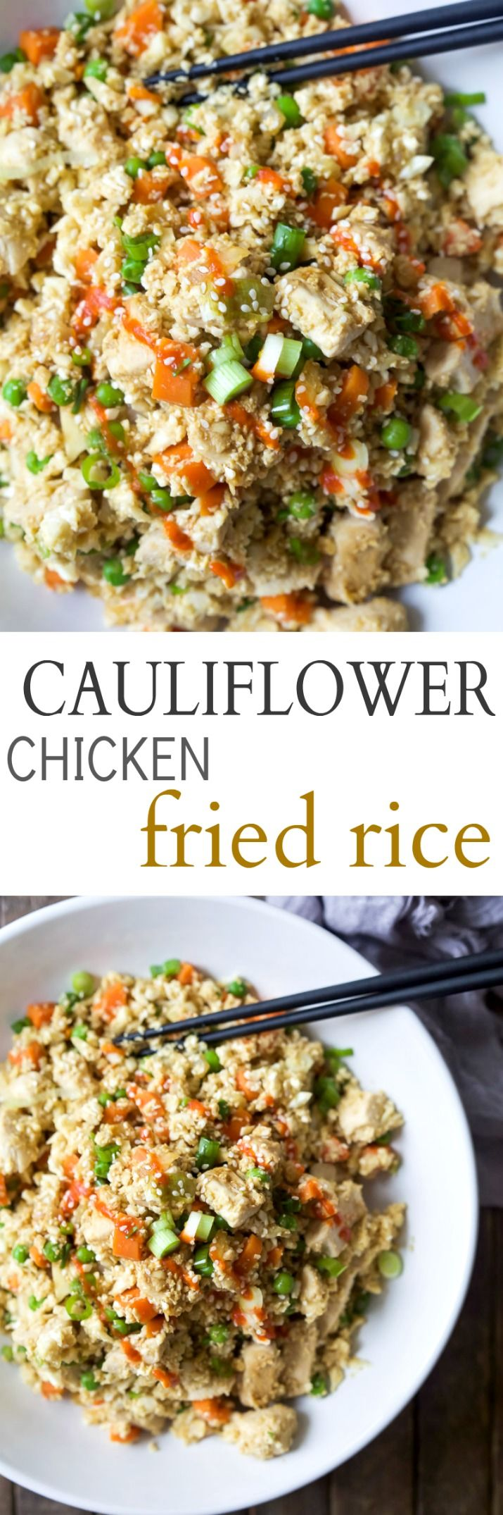Easy 15 Minute Cauliflower Chicken Fried Rice that's way better than takeout and tons healthier for you, clocking in at a whopping 205 calories a serving! PS you're kids will never know its cauliflower not rice! | joyfulhealthyeats.com #glutenfree