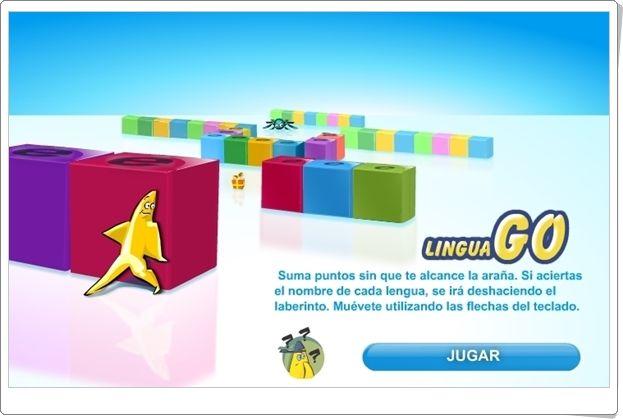 """""""Lingua Go"""" es un juego de la Unión Europea en el que hay que identificar el nombre de cada lengua europea teniendo cuidado, además, de que no te pille la araña. Buen medio para celebrar el Día de Europa, día 9 de mayo."""