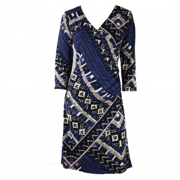Emmy Abstract Print 3/4 Sleeve Wrap Dress