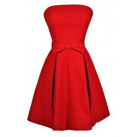 Bright Red Dress, Red Bow Dress, Strapless Red Dress, Red Party Dress, Red Bridesmaid Dress, Red A-Line Strapless Dress, Strapless Red Bow Dress