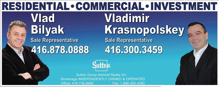 Real Estate Vlad Bilyak and Vladimir Krasnopolskey coroplast sign.