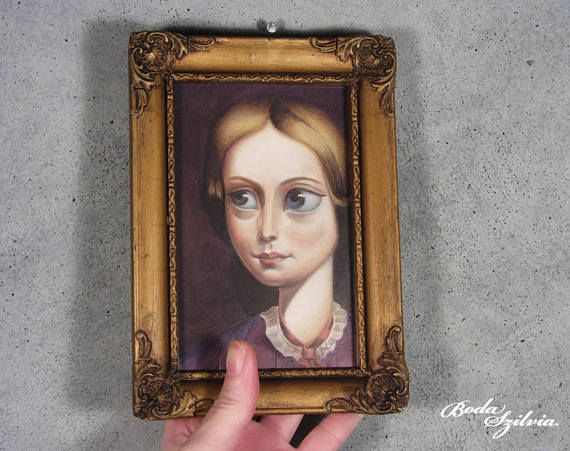 Charlotte Bronte portrait  original framed art, big eye artpop surrealism by bodaszilvia on etsy