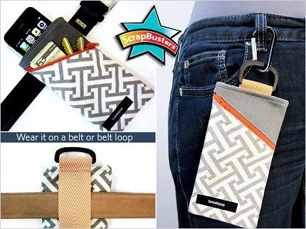 Head over to Sew4Home for a tutorial showing how to make a belt pouch to hold a cell phone. You can attach it two ways: slide it on a belt using a loop sewn to the back, or clip it to your belt lo…