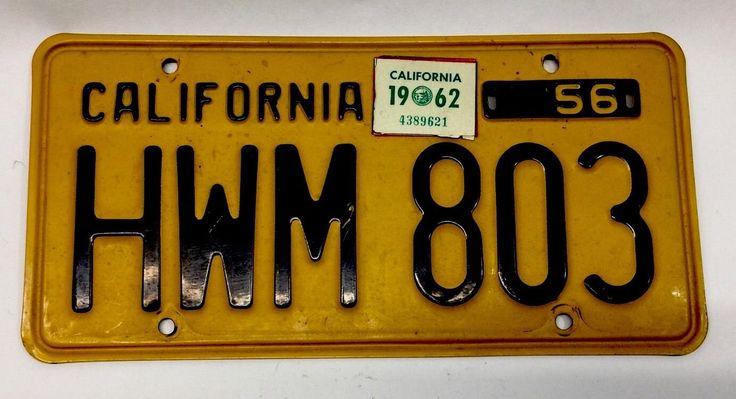 Orig 1956 California License Plate Dmv Clear 1962 Reg Tag