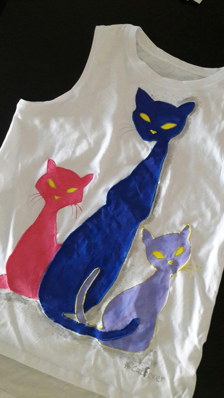 #cats, #handpaintedtshirt, #catfever