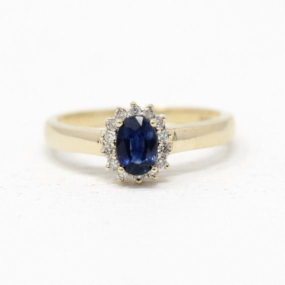 Size 6 Ribbon-Style Design Sapphire and Diamond Cluster Ring in 10K Yellow Gold Circa 1980/'s Vintage Estate Jewelry