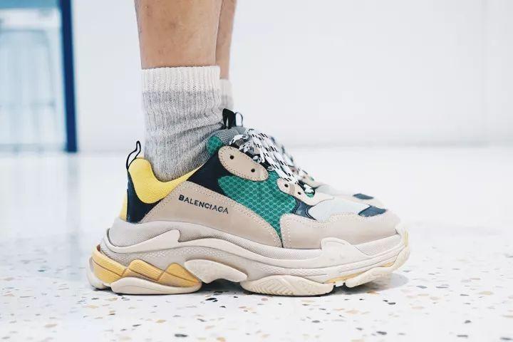 Balenciaga White Triple S Low Top Green Sneakers Size US