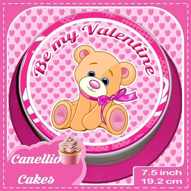 VALENTINES DAY TEDDY BEAR 7.5 INCH PINK ROUND CAKE TOPPER  CCV004L
