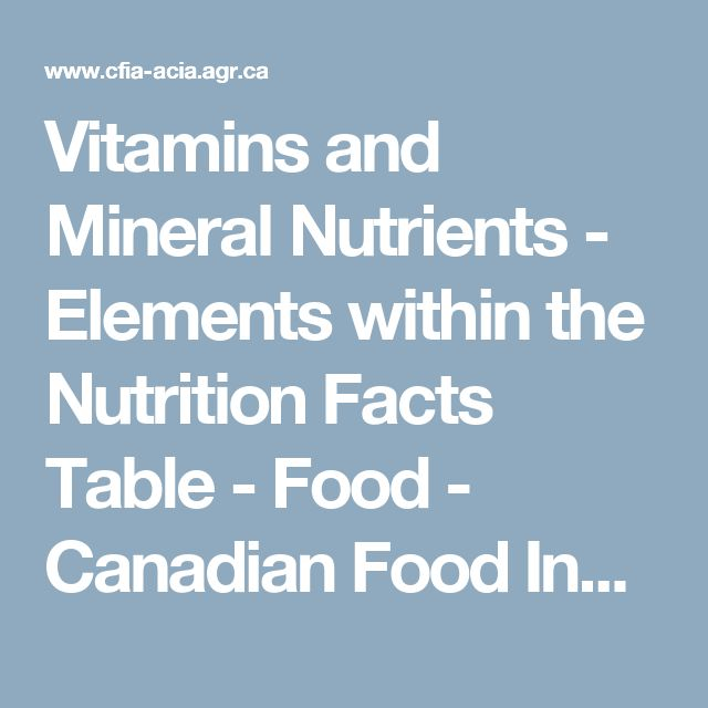 Vitamins and Mineral Nutrients - Elements within the Nutrition Facts Table - Food - Canadian Food Inspection Agency  Declarations of vitamins and mineral nutrients in the Nutrition Facts table are based on the combined total of both the naturally occurring nutrient content and any added nutrient content of a food. Vitamins and mineral nutrients are declared as percentages of the Daily Value per serving of stated size.