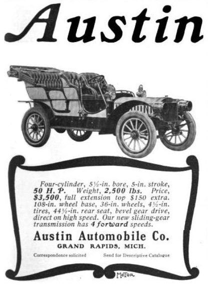 Austin automobile co grand rapids michigan 1905 for Grand rapids motor car