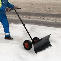 "Outsunny Rolling Snow Shovel Pusher Adjustable Snowplough 29"" Blade w/10"" Wheels"