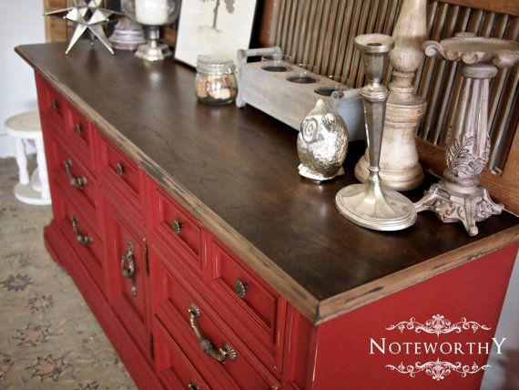 Red Distressed Dresser, Red Buffet, Painted Media Console, Stained Top,  Walnut Stain