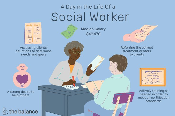 A social worker helps people cope with challenges they are