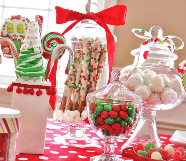 Holiday candy theme table...cute for guests Christmas Eve