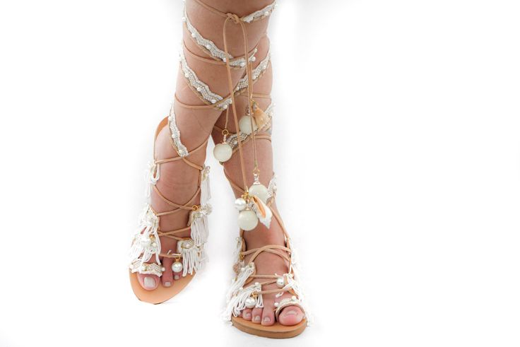 Perfect bridal summer sandals from Elina Linardaki.