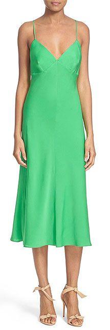 Milly Stretch Silk Green Slip dress