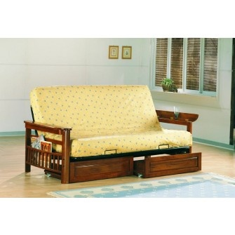 Munson Futon has magazine racks on each side, and flip up arms.  Drawers available separately