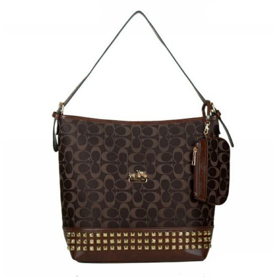 Coach Legacy Duffle In Stud Signature Medium Coffee Shoulder Bags BDD Can Match Your Any Clothes, Come Here To Buy One!