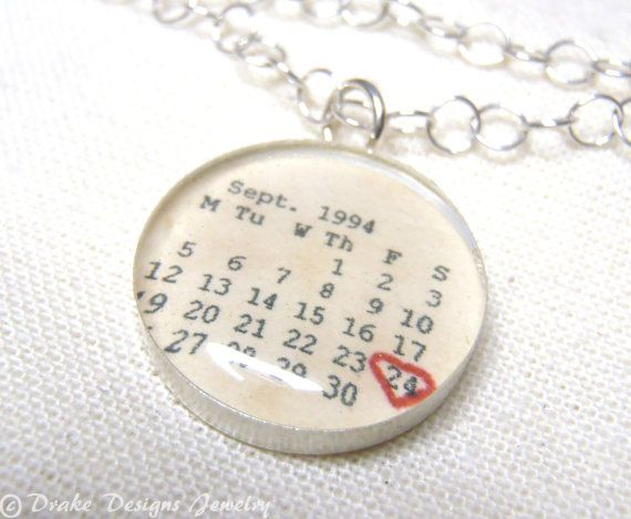 Personalized Calendar Necklace ...First Anniversary Paper Gifts, Wedding, Save the Date, any Special Day Personalized Necklace