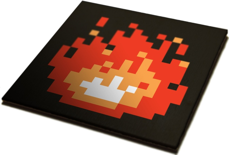 Check out this fun 8-bit Fireplace Art by JamesBit.  Available on Etsy for $150.: Fireplaces Insert, Fireplaces Art, Zelda Fireplaces, 8Bit Fireplaces, Decor Fireplaces, Fireplace Art, Fireplaces Covers, 8 Bit Fireplaces, Fire Places