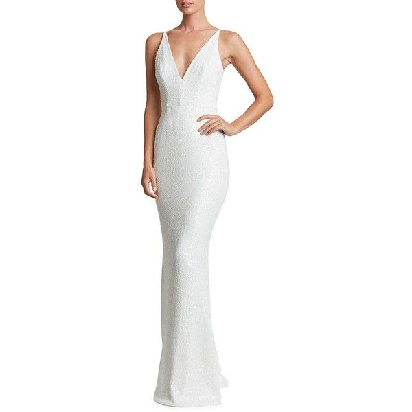 Dress The Population Harper Sequined Gown featuring polyvore, women's fashion, clothing, dresses, gowns, white, white sleeveless dress, sequin evening dresses, white sequin dress, sequin ball gown and v-neck sequin dresses