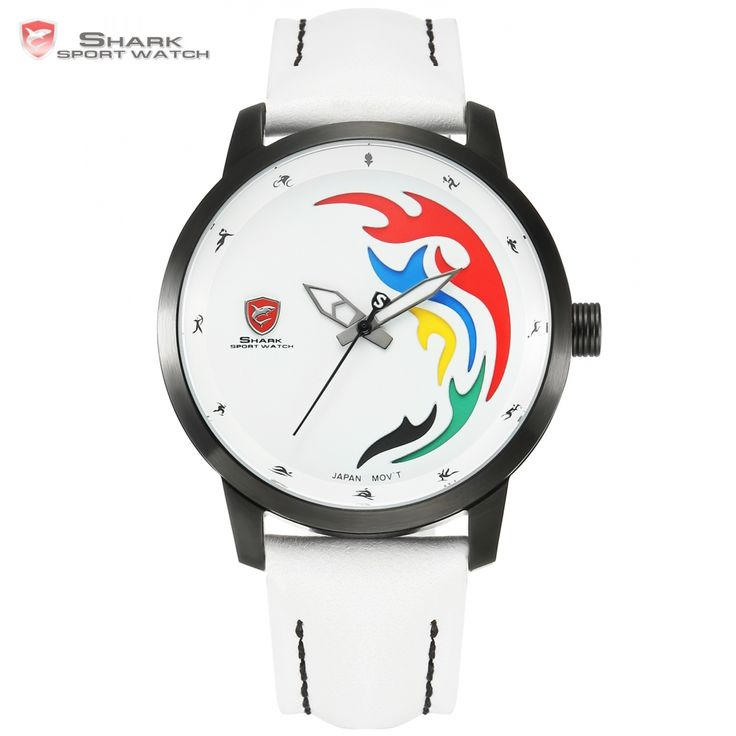 US $99.99 - Top Brand Luxury SHARK Sport Watch Men 2016 Games Limited White Black Flame Genuine Leather Olive Back Relogio Masculino /SH515