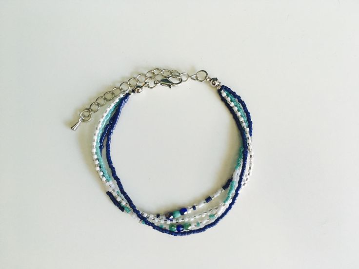 Blue/White/Green  Multistrand beaded bracelet for women, Miyuki beads 11/0 - Handmade in Montreal by SamsCharmz on Etsy