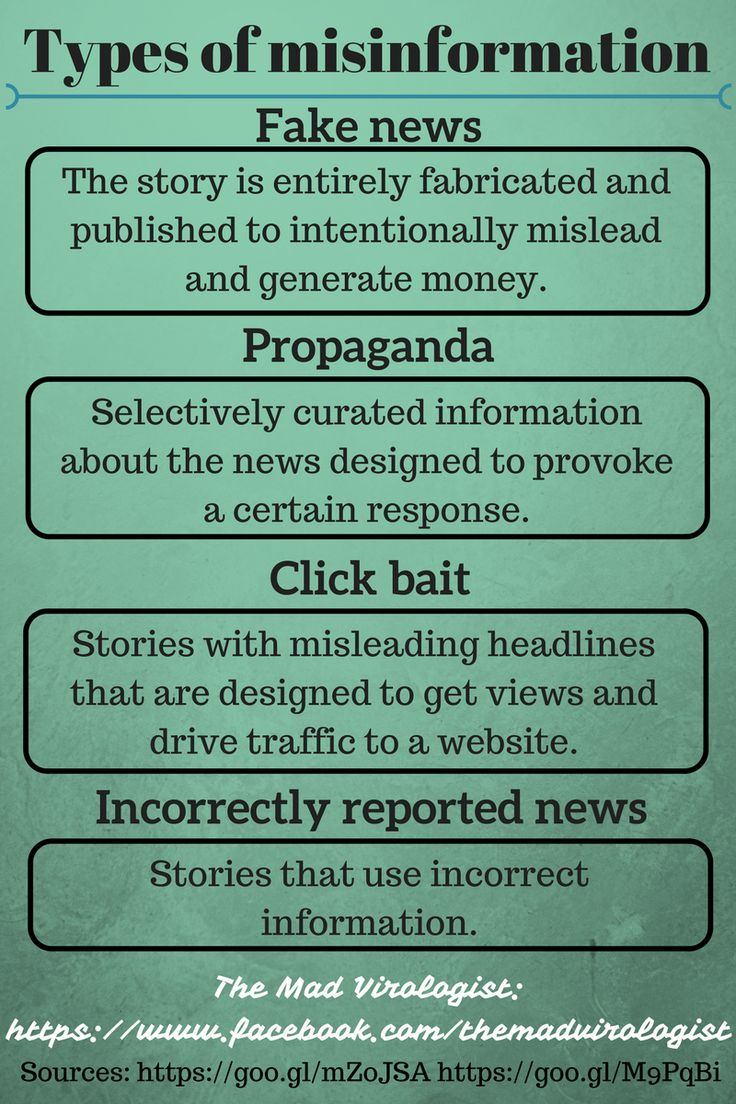 Types of Misinformation - about fake news, propaganda ...