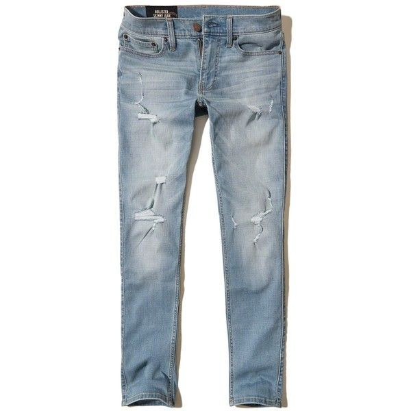 Hollister Skinny Jeans ($60) ❤ liked on Polyvore featuring men's fashion, men's clothing, men's jeans, destroyed light wash, mens stretch skinny jeans, mens distressed skinny jeans, mens destroyed jeans, mens light wash jeans and mens stretch jeans