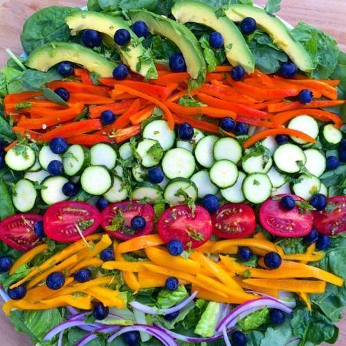 rawvana: Ensalada Rainbow para la cena! Verdes, pimientos, calabacines, tomates, cilantro, aguacate, arándanos y cebolla! Nuevo vídeo es de hasta: 7 día de REPOS Introducción YouTube.com / rawvanaeng --------------- iris Ensalada de Arco párr La Cena! Lechugas verdes, Chile morrón, calabacita, tomates, cilantro, aguacate, mora azul, y cebolla! Nuevo vídeo: 7 Días párr REINICIAR Tu Cuerpo (introducción) YouTube.com / officialrawvana #rawvana #letsdothis