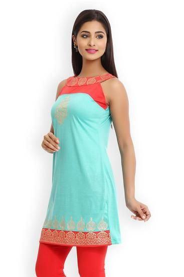 LadyIndia.com # Anarkali, Classy Cotton Sleeveless Blue Kurti For Women, Kurtis, Kurtas, Cotton Kurti, Anarkali, A-Line Kurti Designer Kurti, https://ladyindia.com/collections/ethnic-wear/products/classy-cotton-sleeveless-blue-kurti-for-women?variant=30039303629