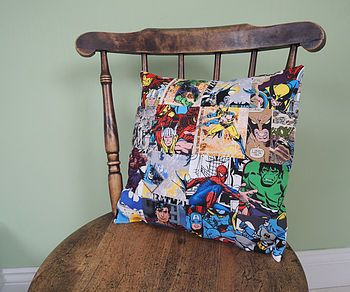Handmade Superhero Patchwork Cushion Cover