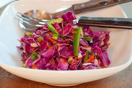 [RED CABBAGE SLAW] :: red cabbage, green bell pepper, carrotesm onions, apple cider vinegar, celery seed, sugar, dry mustard, salt & pepper.: Cooking Shared, Tangi Vinegar, Vinegar Dresses, Apple Cider Vinegar, Thyme Recipes, Apples Cider Vinegar, Cabbages Slaw, Red Cabbages, Recipes Books Quick