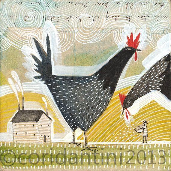 Pollo Art Print  arte  pintura  acuarela  de un granjero por corid