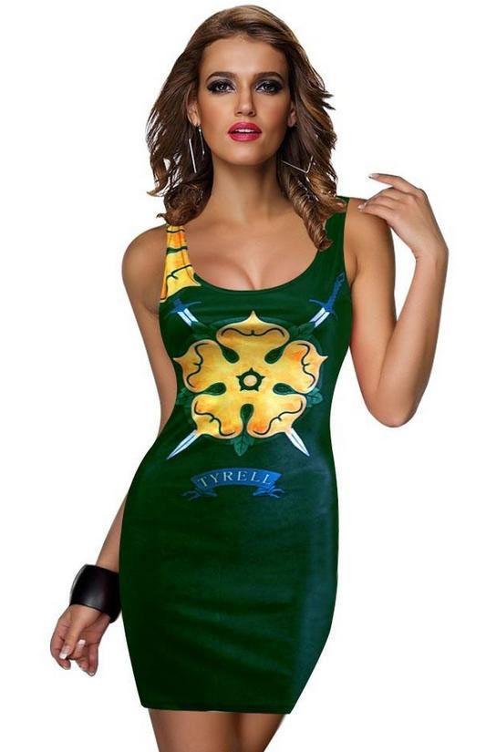 Vestido de tirantes Casa Tyrell. Juego de Tronos Estupendo y sexy vestido inspirado en la serie de Tv Juego de Tronos, con el logo de uno de los Reinos, Casa Tyrell.