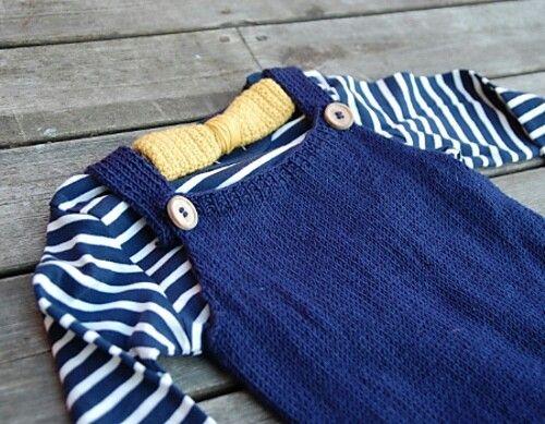 Seleshorts, marine striper og tversover i oker - perfekt til en liten gutt! Oppskrift fra ministrikk.no