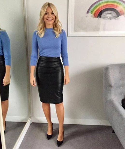 f1fe2fb99e Holly Willoughby wears a leather pencil skirt from Jigsaw and jumper from Massimo  Dutti [Instagram/hollywilloughby]