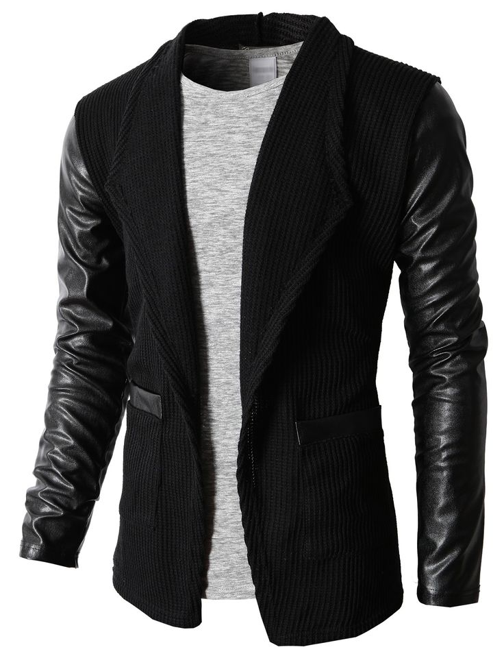 Doublju Men's Cardigan Sweater With Synthetic Leather Long Sleeves (KMOCAL064) #doublju