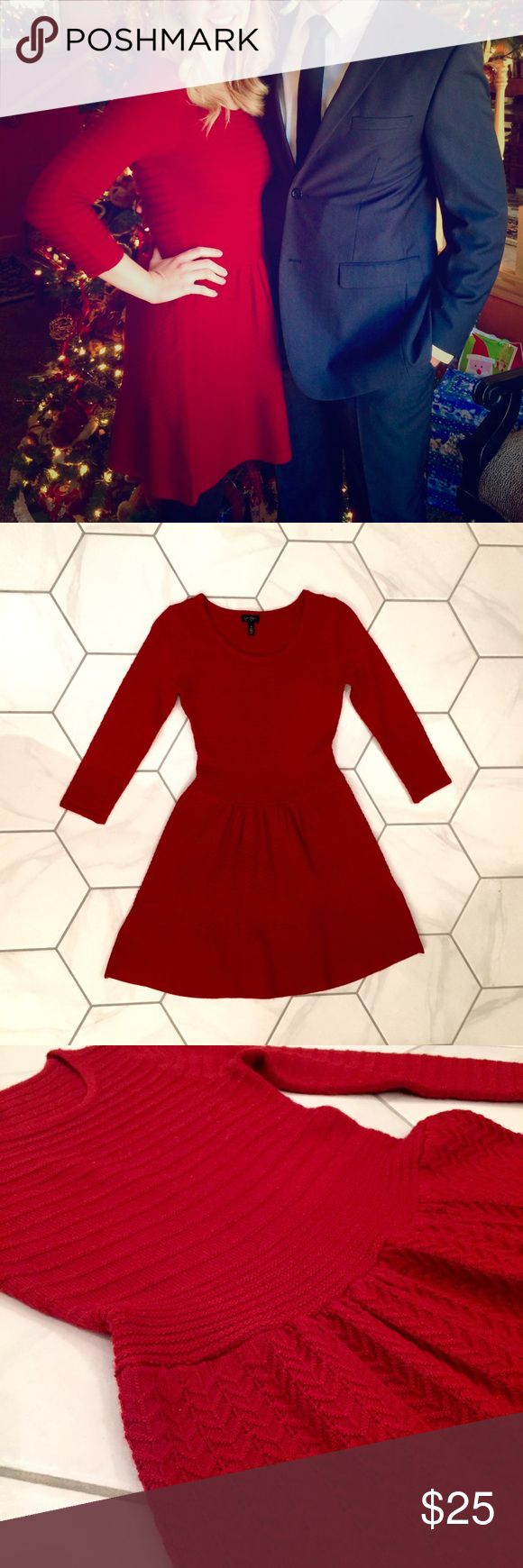 Jessica Simpson Red Sweater Dress with 3/4 Sleeves This is such a perfect dress for the holiday season! It's the perfect red and it feels like a cozy sweater. It was worn just once for a wedding and hasn't been worn since. Very very mild pilling on the bodice. Jessica Simpson Dresses