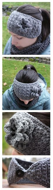 Crochet Winter Headband with Flower - Free Pattern--! STACI!!!! This is what I want!!!! Maybe black with a little pop of color, maybe red or yellow... Oohhh!!! Maybe even a pretty green? The all grey is pretty too :-)