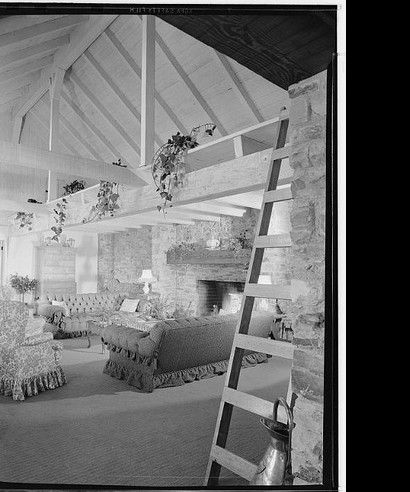 The Sharon Tate Murder House: 10050 Cielo Drive's living room as it appeared in the 1940's: The home was originally built in 1942 for a French actress named Michèle Morgan.