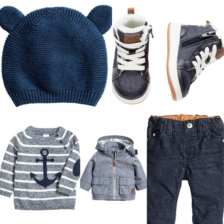H&M 2016 winter baby boy outfit idea. Navy sweater, dark blue stretch cords, blue parka, blue knitted hat with ears and pile-lined trainers.