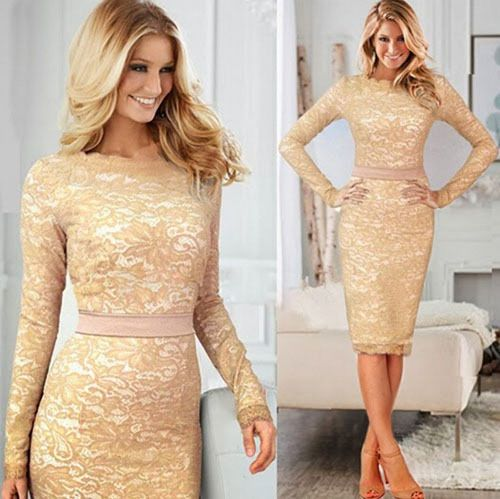 Womens Elegant Sexy Long Sleeve lace Bodycon Party Evening Cocktail Pencil Dress