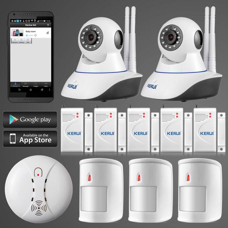 161.49$  Watch now - http://alirb5.worldwells.pw/go.php?t=32550416804 - KERUI 720P WiFi IP Camera Alarm System for Home Burglar Security Pet Immune Detectors+smoke/fire detector+door/window gap sensor