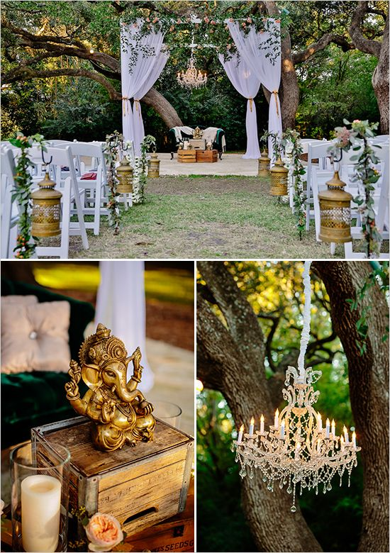 A chic cross cultural wedding with Hindu touches.   rustic and ethnic reception decor @weddingchicks