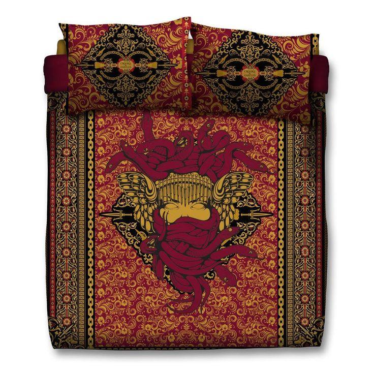 New Medusa Comforter & Pillow Cases (Burgundy)