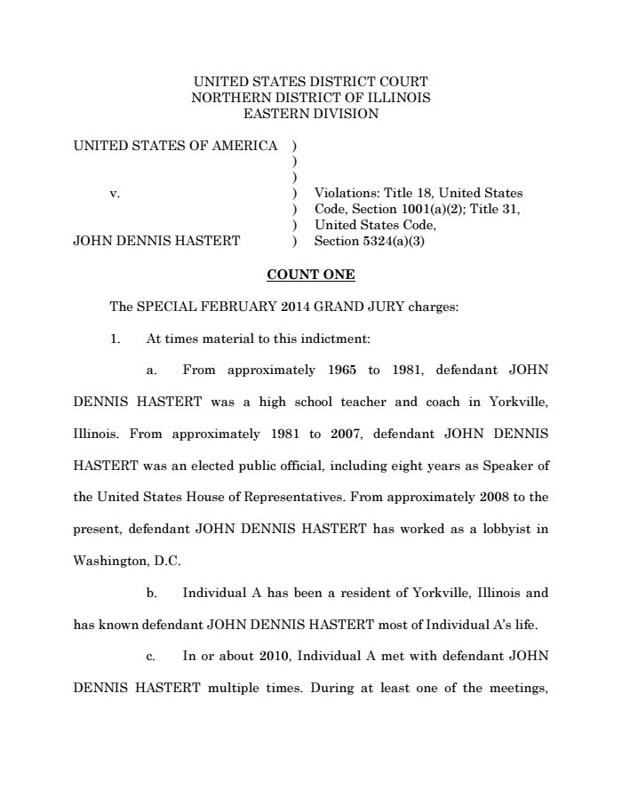 Dennis Hastert Was Just Indicted on Federal Charges. Read the Full Indictment. | Mother Jones